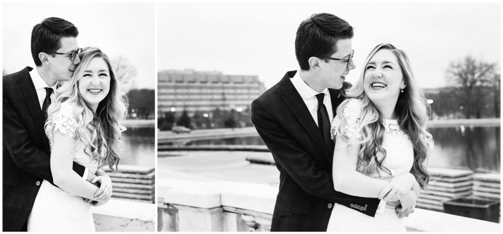 black and white portraits in front of reflecting pool