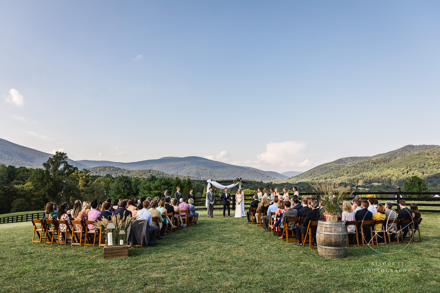 Ceremony view of Charlottesville mountains